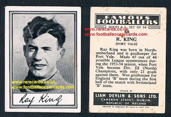 1952 Liam Devlin Ireland Series A2 #49 Ray King Port Vale